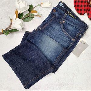 7FAMK A pocket dark wash flare jeans sz 32 O492